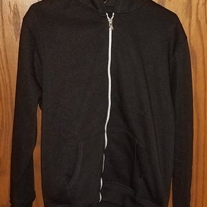 Mens black hooded full zipper sweatshirt